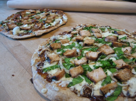 Grilled Chicken, Spinach, and Onion Pizza