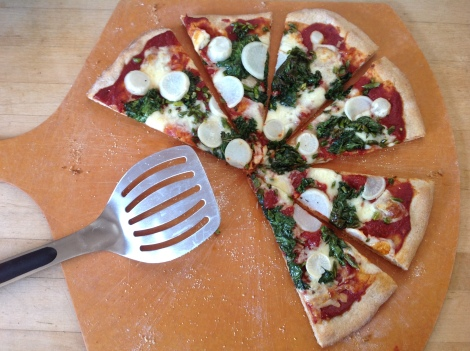 Kale, Turnip, Garlic Scape Pizza
